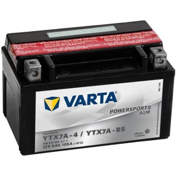 Bilde av VARTA YTX7A-BS AGM MC Batteri 12V 6AH 105CCA (151x88x94mm) +vens
